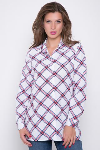 <p>Модная рубашка в клетку. Длинный рукав на манжете. Планка на пуговицах. Ворот отложной на стойке.</p>