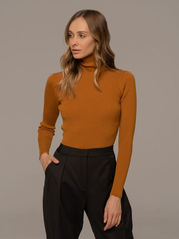 Женский свитер терракотового цвета из 100% шерсти - фото 2