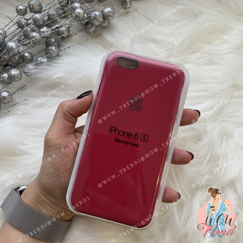 Чехол iPhone 6/6s Silicone Case /rose red/ малиновый 1:1