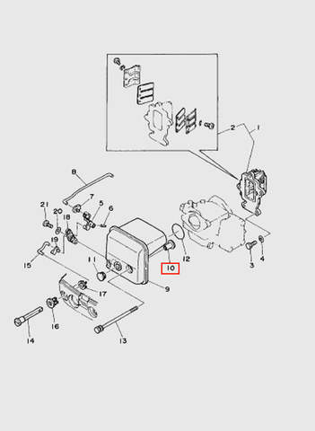 Втулка воздухозаборника  для лодочного мотора T15, OTH 9,9 SEA-PRO (4-10)