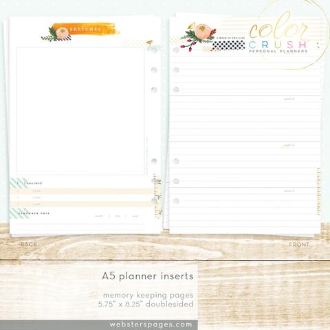 Страницы для еженедельных заметок A5 MEMORY KEEPING INSERTS для планнера  формата A5