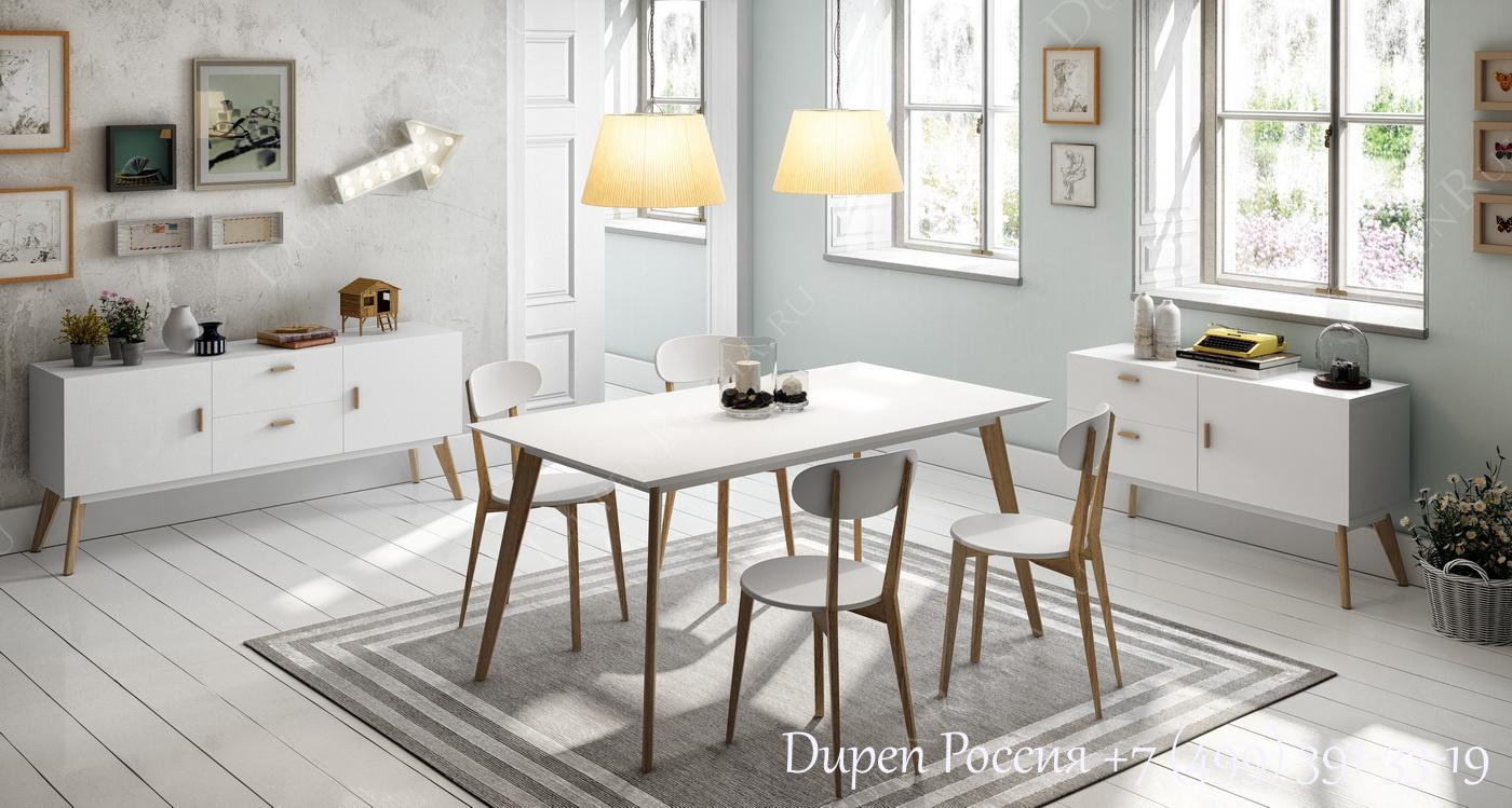 Буфет DUPEN W-900 Белый полуматовый, Стол DUPEN DT-900, стулья DUPEN CH-900, Буфет DUPEN W - 901