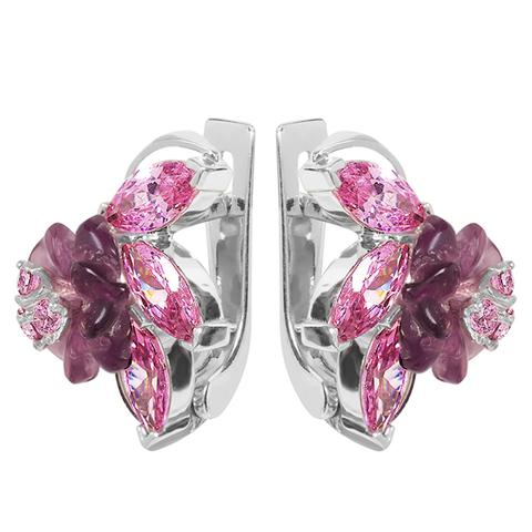 Серьги из серебра с цветами из фианита и кварца Арт.2251фрр