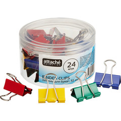 Зажим для бумаг Attache Selection, 32мм, 24 шт, цветные, пласт.уп