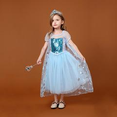 Платье Эльзы со снежинками и пышной юбкой