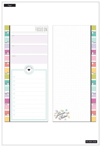 Внутренний блок  для ежедневника- Half Sheet Note Paper - Focus - Planner Babe - Classic -60шт