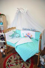 Комплект постельного белья для новорожденных с защитой-бортиками Леко