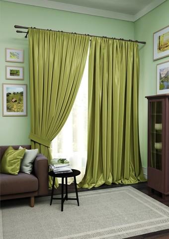 Комплект штор Авери с тюлем зеленый