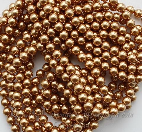 5810 Хрустальный жемчуг Сваровски Crystal Bright Gold круглый 6 мм, 5 штук