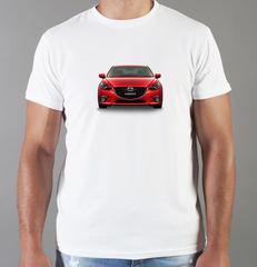Футболка с принтом Мазда (Mazda) белая 007