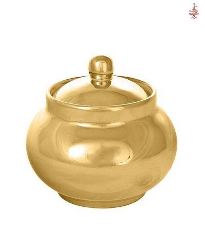 Сахарница керамическая золотистая