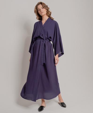 Кимоно из вискозы синее длинное