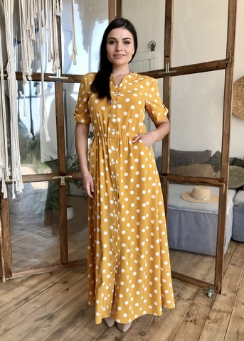 Амина. Платье больших размеров длинны макси. Горчица