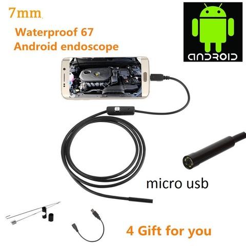 USB-эндоскоп 2 метра с камерой 7 мм водонепроницаемый с LED подсветкой и micro USB для компьютера и телефона