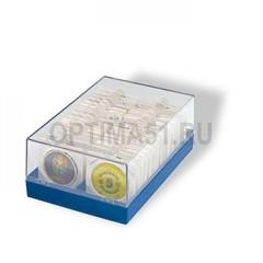 Пластиковый бокс для хранения 100 монет в холдерах (50х50), прозрачный с синей основой