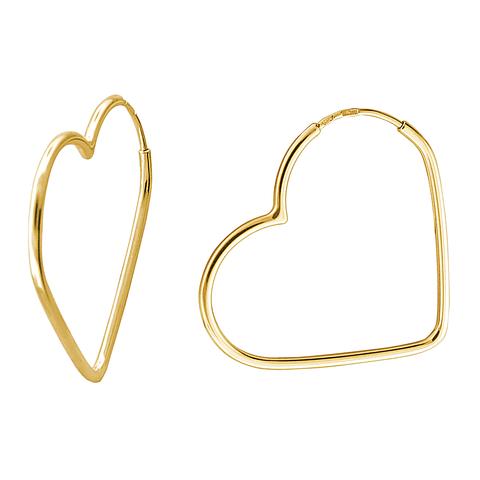 01С0313211 Серьги конго-сердце из золота 585 пробы
