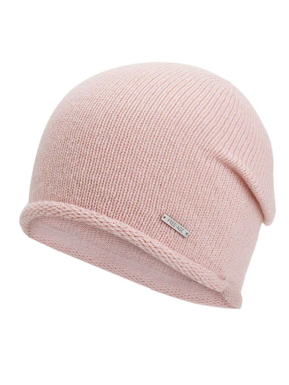 Женская светло-розовая шапка из 100% кашемира - фото 1