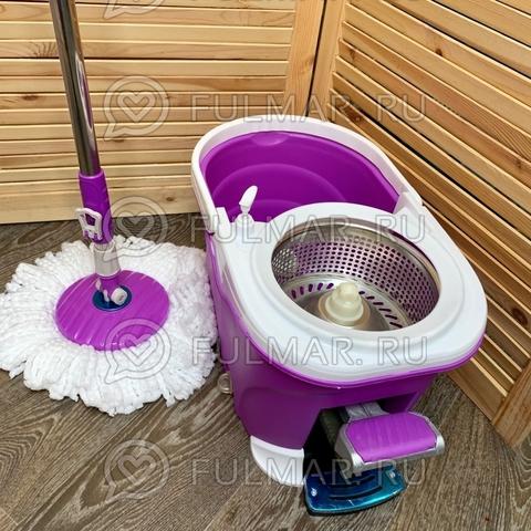 Швабра и ведро со Стальной педалью для отжима и полоскания Spin Mop 9 литров Фиолетовая