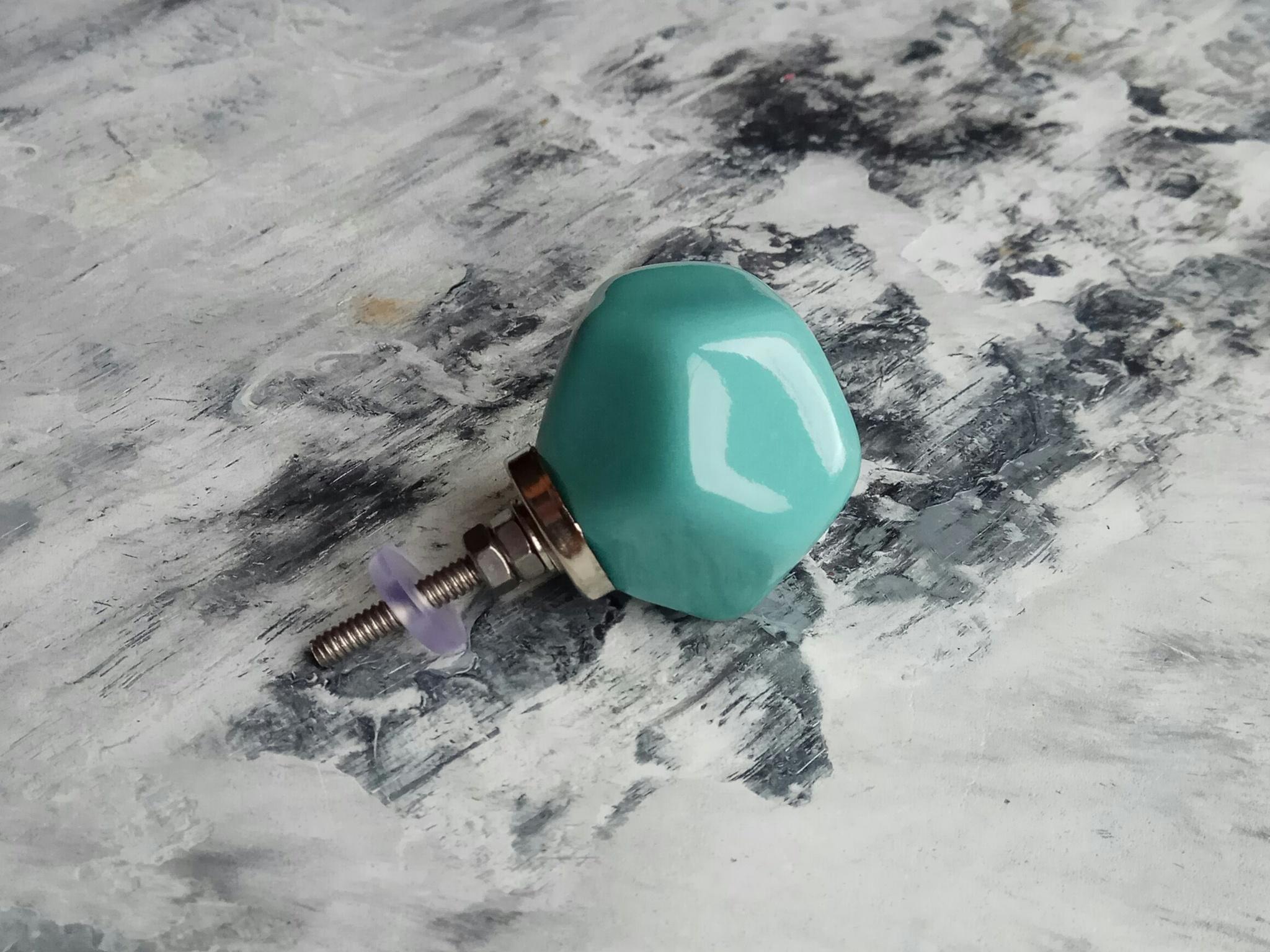 Ручка мебельная керамическая полигональная  - бирюзовый,  арт. 00001004