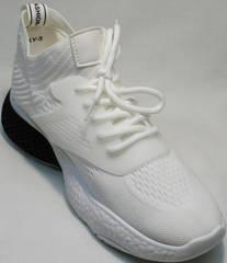 Стильные белые кроссовки текстильные женские El Passo KY-5 White.