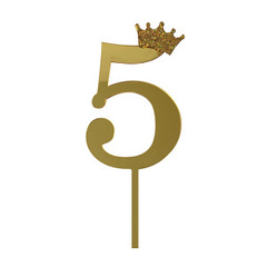 Y Топпер цифра 5 Корона GOLD 18см, 1шт.