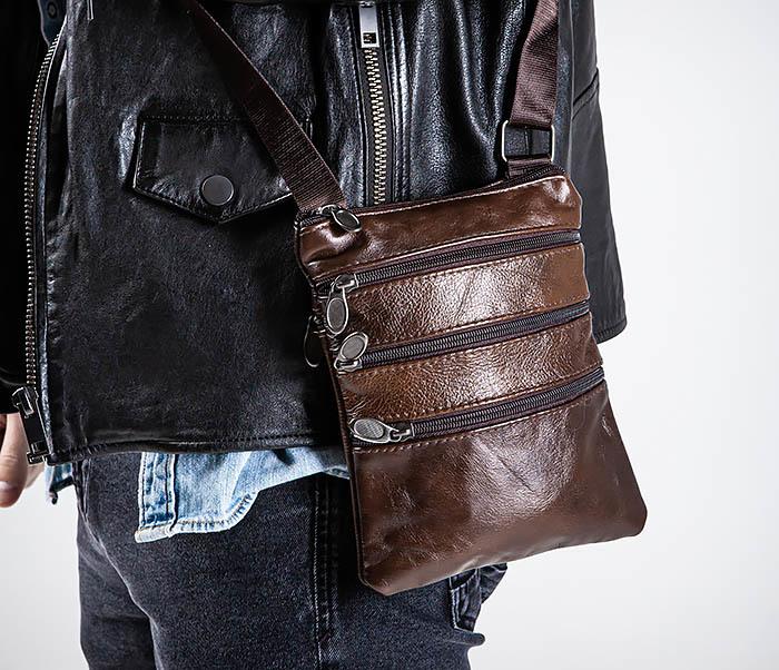 BAG542-2 Маленькая кожаная сумка планшет с ремнем на плечо