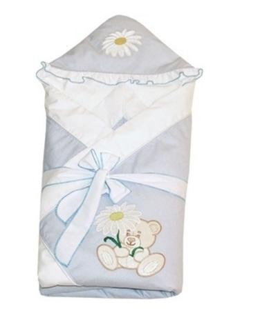 Зимний конверт одеяло для новорожденных Ромашка голубой