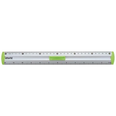 Линейка Attache Selection aluminium 30 см алюминиевая с держателем зеленая
