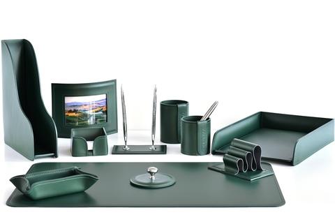 Настольный набор 11 предметов из кожи цвет зеленый