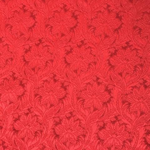 Ткань жаккард красный с   цветами 3270