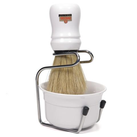 Набор для бритья Omega Помазок (кабан) + металл подставка + чаша для бритья белый