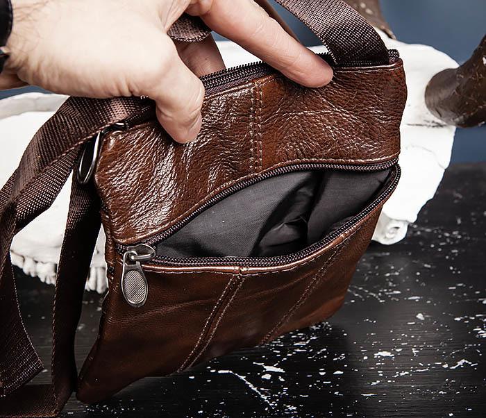 BAG542-2 Маленькая кожаная сумка планшет с ремнем на плечо фото 07