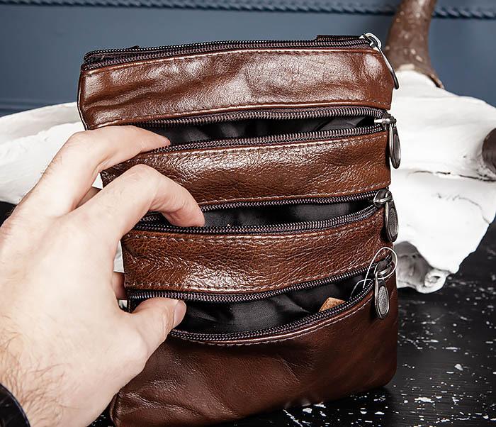 BAG542-2 Маленькая кожаная сумка планшет с ремнем на плечо фото 08