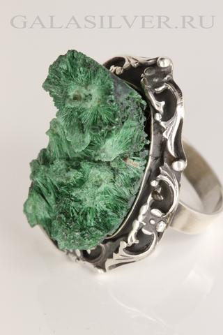 Кольцо с малахитом из серебра 925