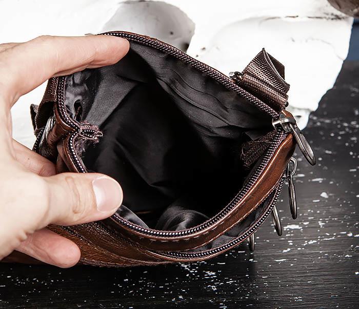BAG542-2 Маленькая кожаная сумка планшет с ремнем на плечо фото 09