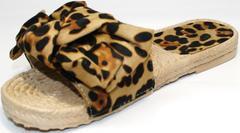 Кожаные шлепки женские Small Swan mm26-5Leopard.
