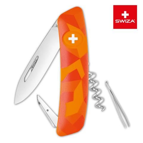 Швейцарский нож Swiza  (KNI.0010.2070) C01 Camouflage 95 мм 6 функций оранжевый