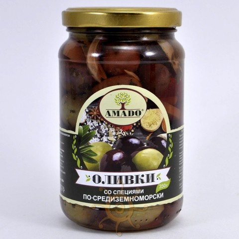 Оливки со специями По-Средиземноморски Amado, 350г