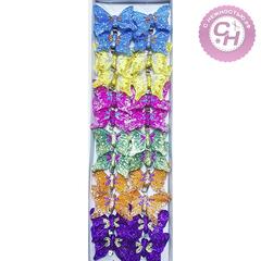 Бабочки декоративные на прищепке с блестками 5,5 см.
