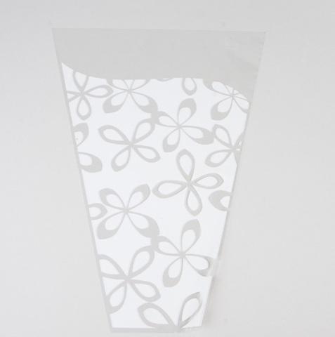 Пакет цветочный Конус Милана цветной рисунок 30/40 цвет: белый (упаковка: 50 шт.)