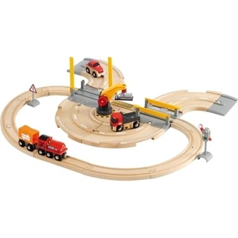 BRIO Железная дорога с автодорогой и переездом, 32 элемента