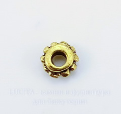 Бусина металлическая - спейсер 6х3 мм (цвет - античное золото), 10 штук