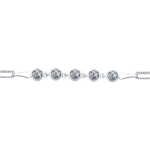 94050303- Браслет из серебра с дорожкой из фианитов