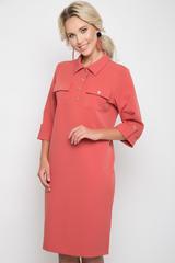 """<p><span>Молодежное платье в стиле """"карго"""". Функциональные карманы - неотъемленная часть этого сезона. Платье прямого силуэта, рукав 3/4 с манжетом и патом.Ворот отложной с планкой на пуговицах. Платье представленно в модной цветовой гамме. (Длины: 46-98см; 48-52=99см)&nbsp;</span></p>"""