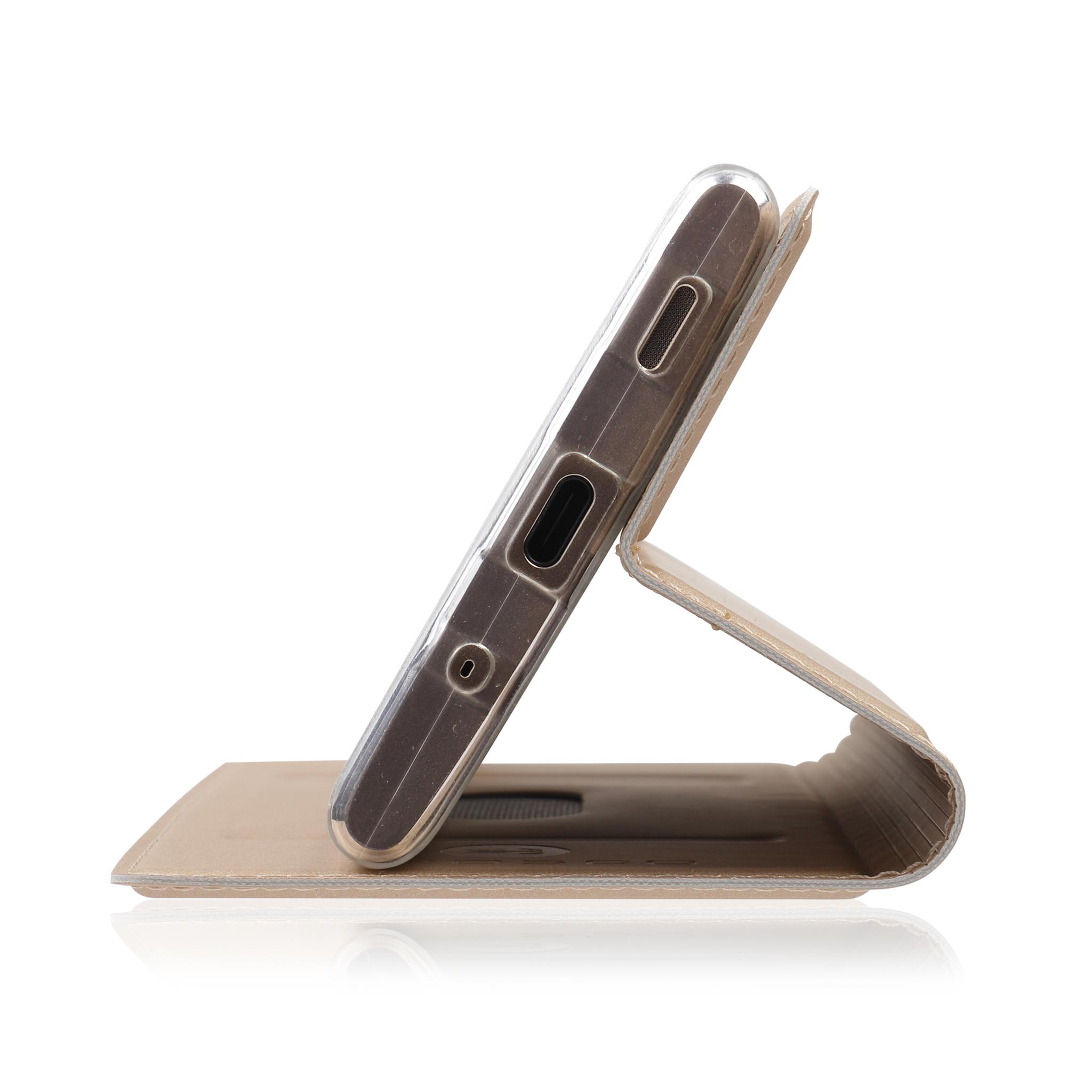 Brosco Xperia XA2 Plus / Чехол-книжка, цвет золотой