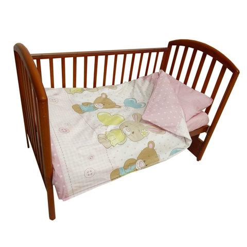 Папитто. Комплект постельного белья из перкаля с простыней на резинке Друзья, розовый