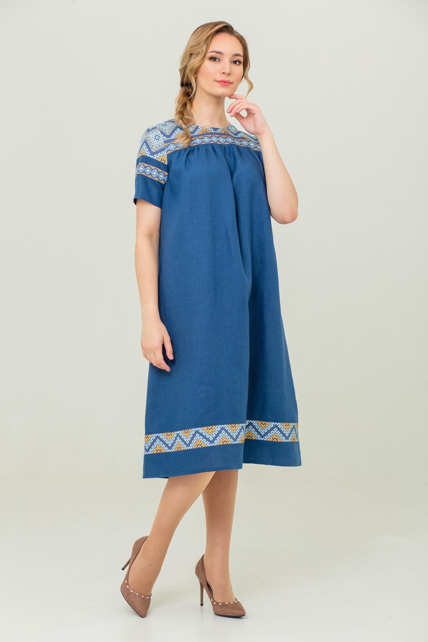 платье русское народное с обережным орнаментом Каспийское