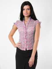 3420-1 рубашка женская, бежево-малиновая