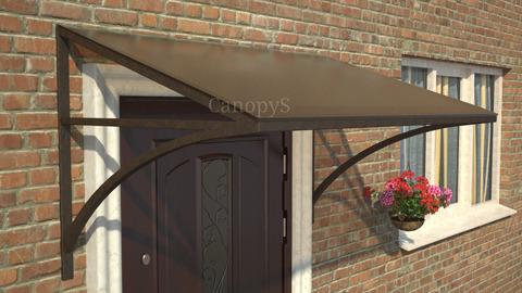 Кованый козырек №2 с бронзовым поликарбонатом над входной дверью