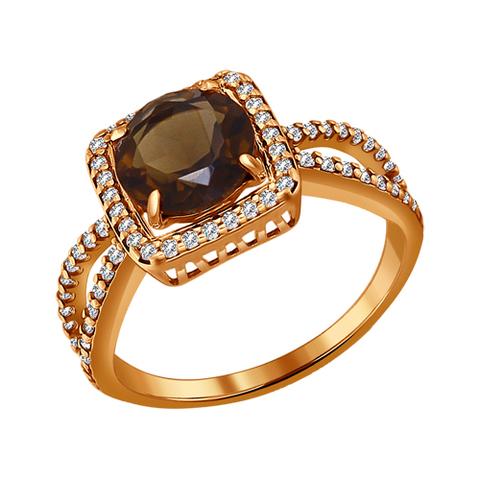 Серебряное кольцо с раухтопазом и позолотой